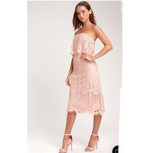 🆕 Lulus Sm Delia Blush Pink Lace Strapless Midi